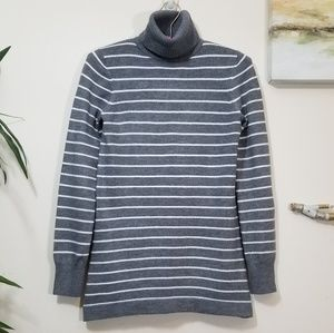 FRENCH CONNECTION sweater grey w/ white stripes